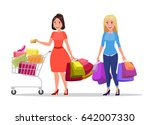 two happy shopping girls or... | Shutterstock . vector #642007330