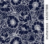 decorative rose seamless vector ... | Shutterstock .eps vector #642007888