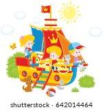 little children playing on a... | Shutterstock .eps vector #642014464