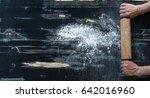 hands of cooks keep rolling pin ... | Shutterstock . vector #642016960