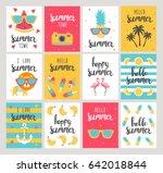 set of summer holiday cards.... | Shutterstock .eps vector #642018844
