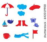 cartoon umbrella  cloud ... | Shutterstock .eps vector #642019900