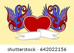 swallows with a red heart on a... | Shutterstock .eps vector #642022156