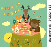 birthday background with happy... | Shutterstock .eps vector #642024613