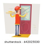 pizza delivery boy man box... | Shutterstock .eps vector #642025030
