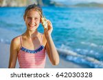 summer vacation. listening to... | Shutterstock . vector #642030328