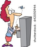 cartoon woman opening a file... | Shutterstock .eps vector #642050944