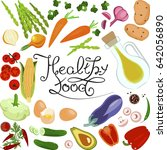 healthy food banner with... | Shutterstock . vector #642056890