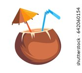 coconut cocktail. flat icon... | Shutterstock .eps vector #642060154