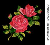 red roses embroidery with... | Shutterstock .eps vector #642060820