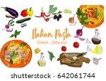 hand drawn italian pasta... | Shutterstock .eps vector #642061744