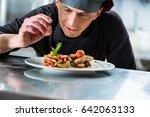 chef finishing and garnishing...   Shutterstock . vector #642063133