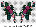 flower reflection embroidery on ... | Shutterstock .eps vector #642064510