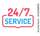 24 7 service. badge icon.... | Shutterstock .eps vector #642068800