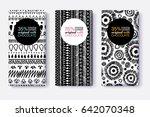 vector set of black and white... | Shutterstock .eps vector #642070348