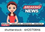 tv breaking news female in red... | Shutterstock .eps vector #642070846
