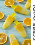 home made orange popsicles on... | Shutterstock . vector #642082936