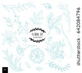 hand drawn floral collection... | Shutterstock .eps vector #642084796