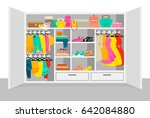 colorful woman wardrobe... | Shutterstock .eps vector #642084880