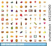 100 calories icons set in... | Shutterstock .eps vector #642102400