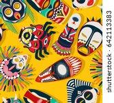 tribal mask background ... | Shutterstock .eps vector #642113383