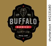 vintage textured buffalo badge... | Shutterstock .eps vector #642131680