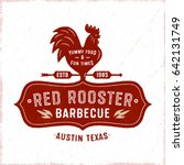 red rooster textured vintage... | Shutterstock .eps vector #642131749