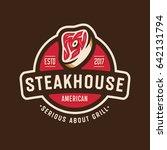 vintage steakhouse logo badge... | Shutterstock .eps vector #642131794