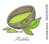 matcha powder green tea in bowl ... | Shutterstock .eps vector #642131950