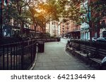 calm city street park under... | Shutterstock . vector #642134494