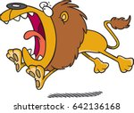 cartoon lion pouncing | Shutterstock .eps vector #642136168