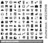 100 sales icons set in simple... | Shutterstock . vector #642139048
