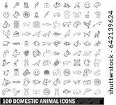 100 domestic animal icons set... | Shutterstock . vector #642139624
