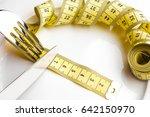 diet concept  measuring tape ... | Shutterstock . vector #642150970