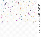 colorful confetti and ribbon... | Shutterstock .eps vector #642154858