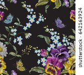 embroidery floral seamless... | Shutterstock .eps vector #642163924