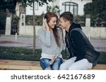 couple in the city love... | Shutterstock . vector #642167689