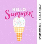 hello summer text with hand... | Shutterstock .eps vector #642167860