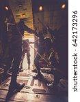 military parachuting  skydiving ... | Shutterstock . vector #642173296