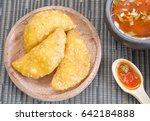 colombian empanada with spicy... | Shutterstock . vector #642184888