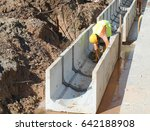 drainage work by construction... | Shutterstock . vector #642188908