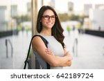 headshot of cute business woman ... | Shutterstock . vector #642189724