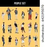 diverse of people enjoy music... | Shutterstock . vector #642195070
