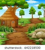 vector illustration of wooden... | Shutterstock .eps vector #642218530