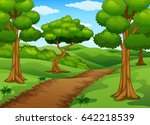 forest scene with dirt trail | Shutterstock . vector #642218539