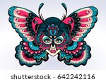 Stock vector beautiful portrait of the girl with butterfly wings in new old school style boho tattoo 642242116