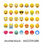 set of 35 funny emoticons ... | Shutterstock .eps vector #642254188