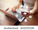 woman hand holding smart phone... | Shutterstock . vector #642255100