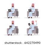 set of arab business man using...   Shutterstock .eps vector #642270490
