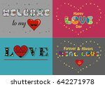 romantic cards set. texts by... | Shutterstock . vector #642271978